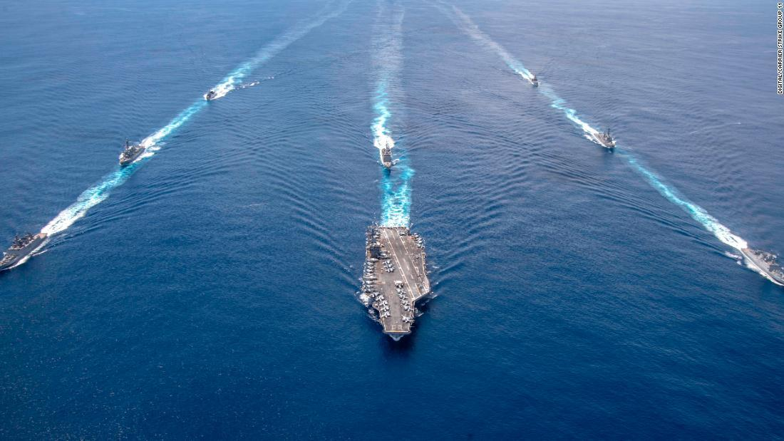 The USS Nimitz seen with its accompanying strike group in the Indian Ocean in July 2020.