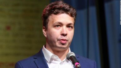 Former chief editor of a Telegram channel Nexta Raman Pratasevich, shown here in August 2020, was detained in Minsk onboard a Ryanair plane that made an emergency landing in the Belarusian capital.